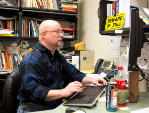 Professor Dyke works in his office in Building 2.