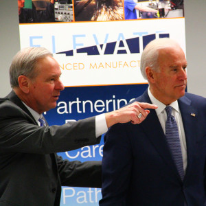 DMACC President Rob Denson and Vice President Joe Biden tour Building 3E on Thursday, Feb. 12