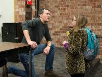 Drama Instructor - Carl Lindberg working with a student after Acting 1 DRA 130.