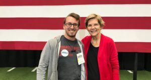 Elizabeth Warren, seen here with Chronicle staff writer Kaleb Schlatter, is known for staying after campaign events to connect with supporters.