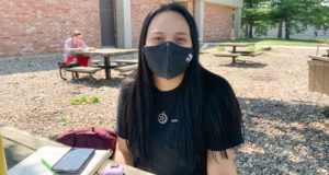 """""""I think that everyone should wear a mask just out of respect for everyone else because it's protecting others from your germs.  I think that, out of respect for everyone, we don't know what's going on in their lives or what they have to deal with, or what medical things they have going on so I think it's just a respect thing."""" -Josie Sawhill, Human Service Major"""